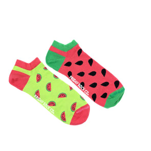 Watermelon and seeds mismatched ankle socks, ethically made in Italy, Designed in Canada