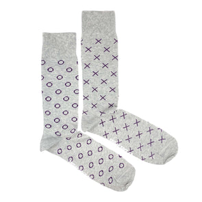 X and O socks for men, purple and grey, designed in canada, ethically made in italy