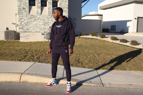 Leaux Fitted Sweatsuit - Navy Blue