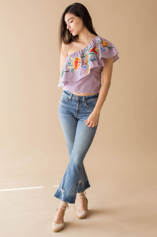 One shoulder embroidery top