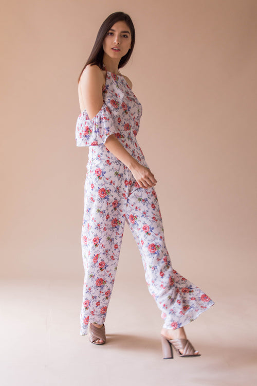 Off shoulder print jumpsuit with adjustable straps