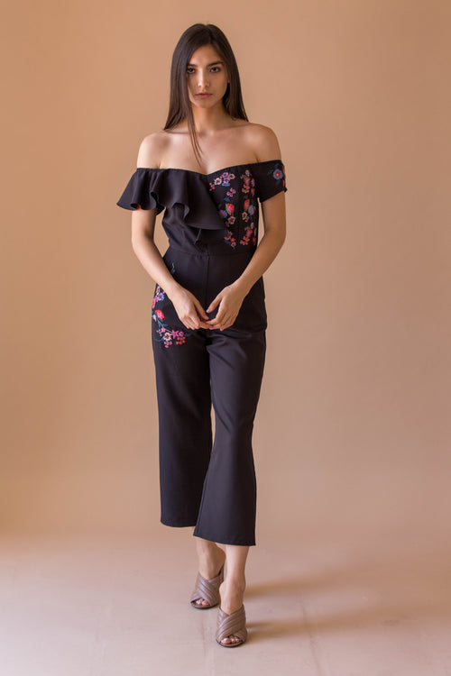 Off shoulder ruffle & embo jumpsuit