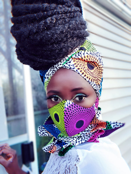 Maame mask headwrap and neckpiece. - Akese Stylelines