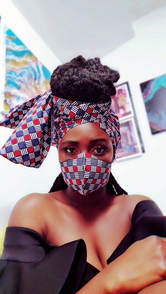 Amasan mask and headwrap set. A seen in Chicago Magazine! - Akese Stylelines