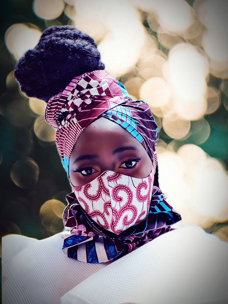 New Akua mask and headwrap set . Reversible - Akese Stylelines