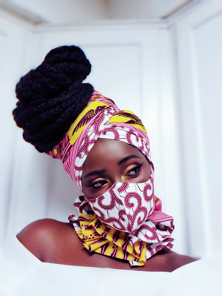 Amina Ankasa mask and headwrap. Reversible