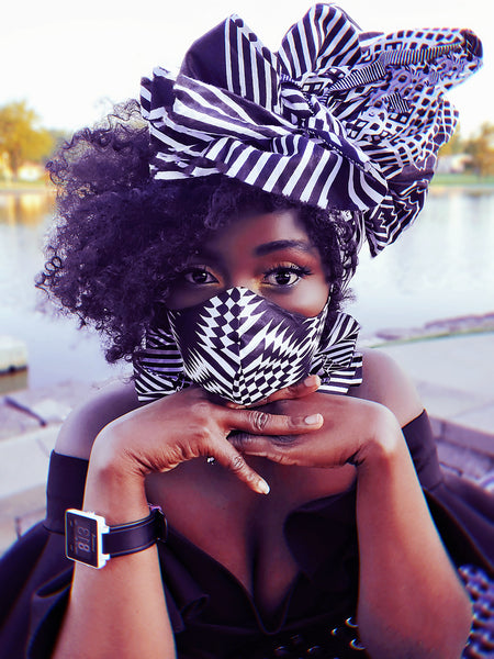 Alewa Foforo headwrap and mask. - Akese Stylelines