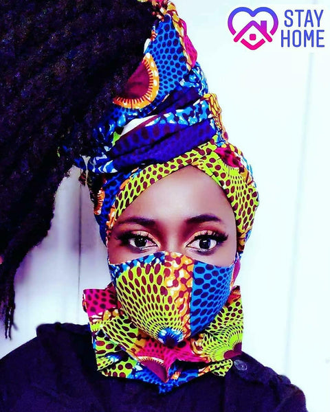 Adwoa Headwrap, Mask and Neck piece SET - Akese Stylelines