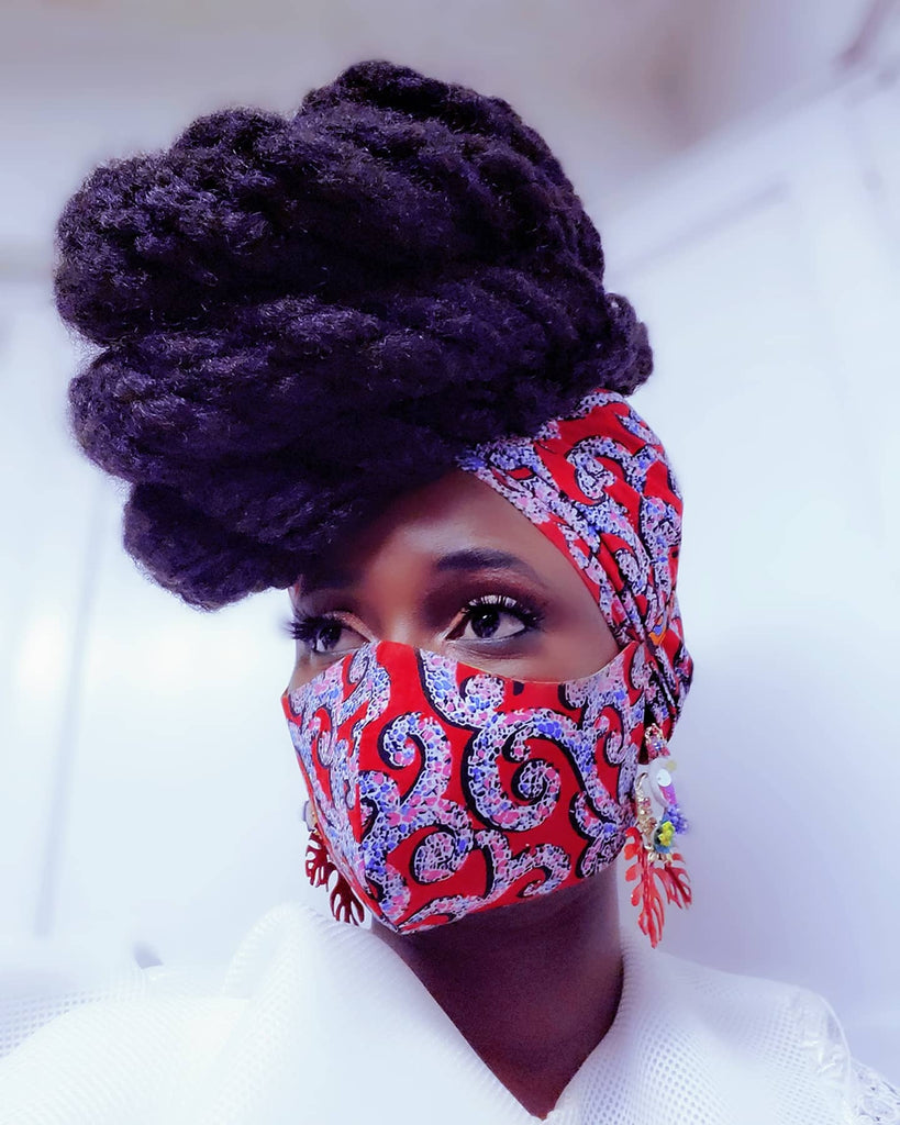 Ama headwrap and  Mask Set