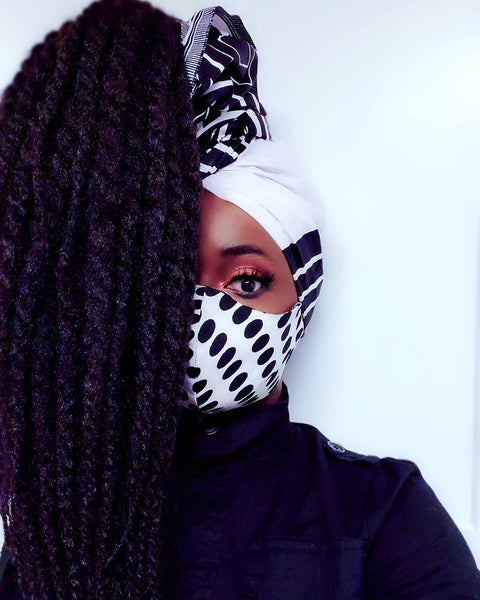 Alewa mask and Head wrap set. Pockets - Akese Stylelines