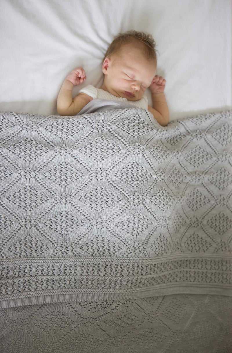 Heirloom Baby Blanket - Geometric Pattern in Cygnet Grey - 100% Merino