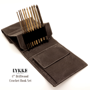 "Lykke - Driftwood 6"" Crochet Hook Set Sizes E-M"