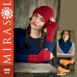 Umiña 5146 Neck Wrap, Socks, Hat & Fingerless Gloves by Jenny Watson