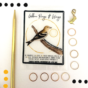 Golden Rings & Wings Stitch Markers by Firefly Notes