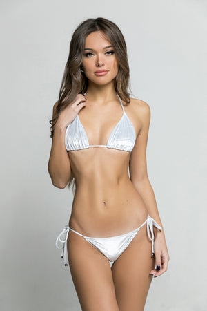 ALEXA - LIGHT GRAY ITALIAN VELVET TRIANGLE BIKINI TOP