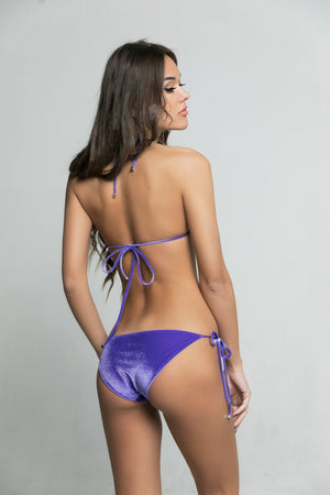 Two piece triangle purple italian velvet bikini