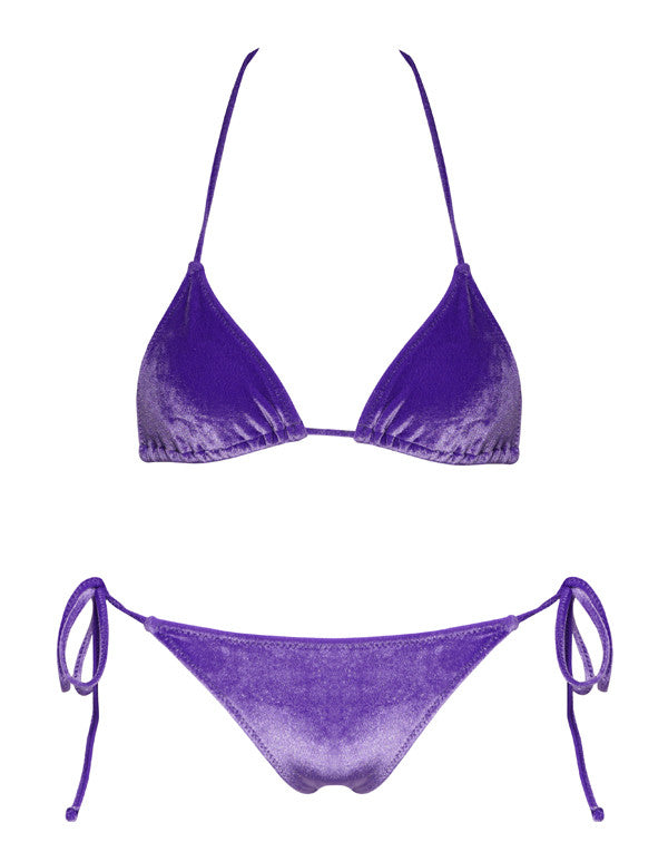 Two piece purple Italian velvet bikini triangle top and bottom