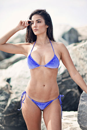 Two piece italian velvet bikini triangle top and bottom