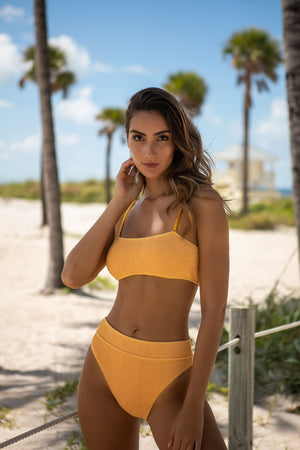 TURKS AND CAICOS HIGH WAISTED MUSTARD BIKINI BOTTOM
