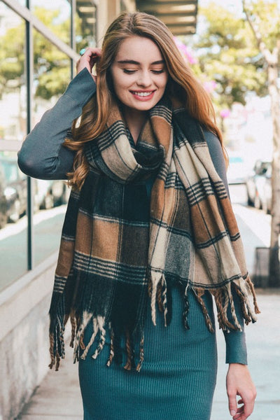 oversized flannel oblong scarf