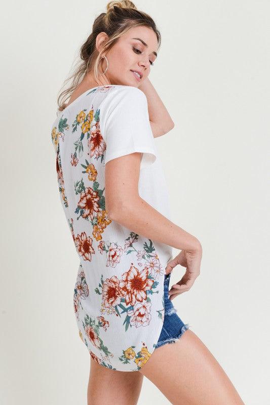 floral back tee