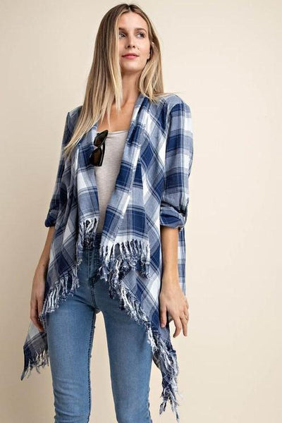 plaid cardi with fringe edge