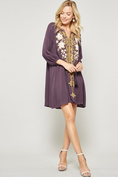 boho style modest dress with embroidery perfect for fall