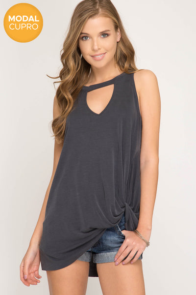 choker neckline tank with twist hem