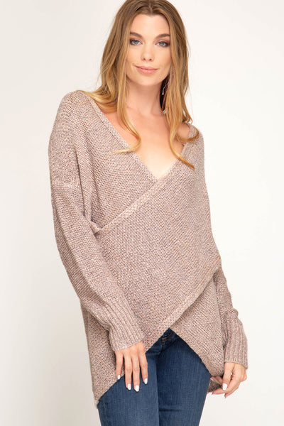 rose beige surplice sweater - Back in Stock