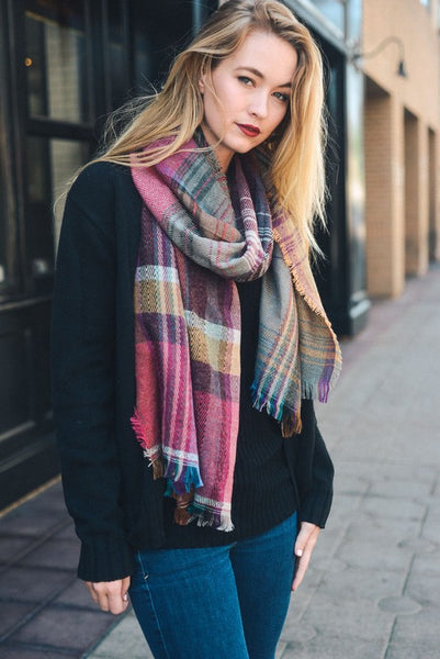 plaid oversized oblong scarf