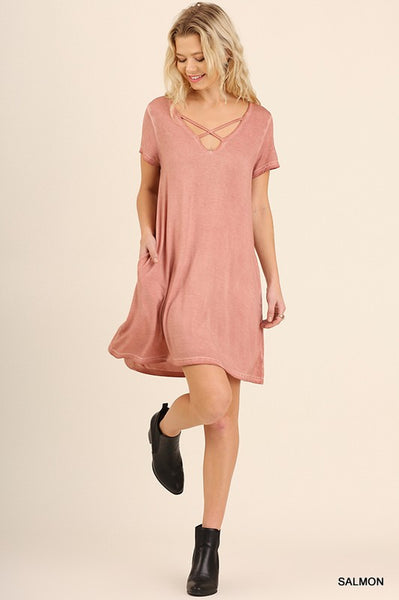 garment washed dress with pockets