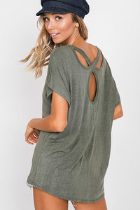 garment washed tee with open back
