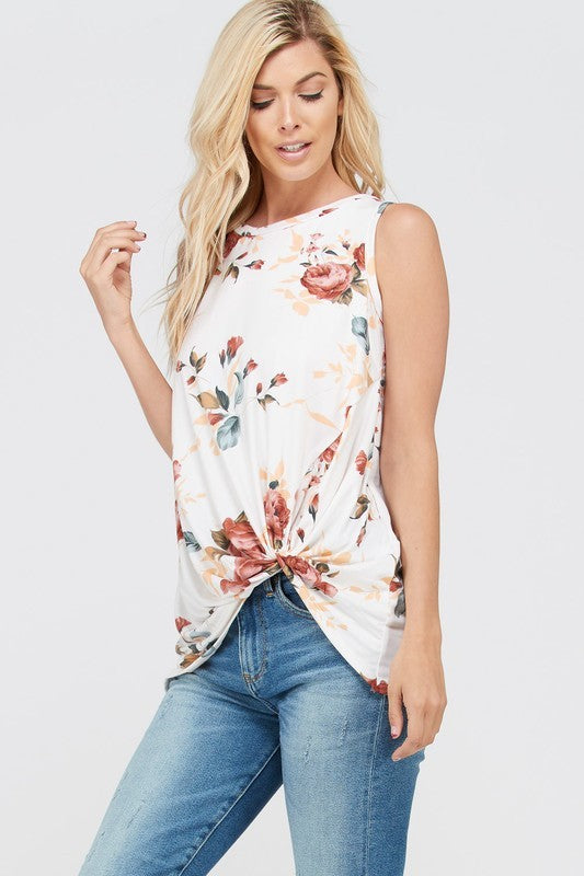 floral twist front tank
