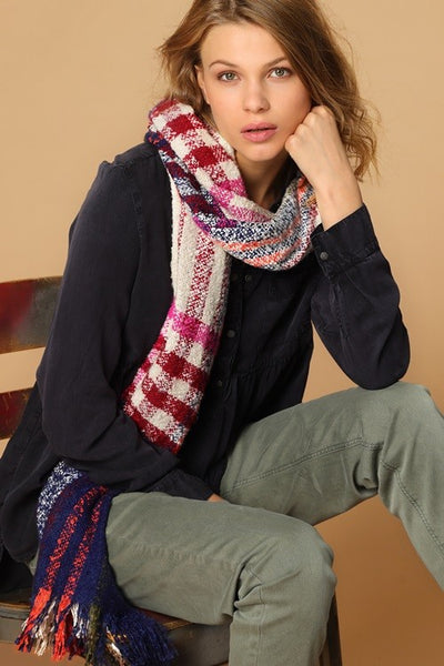 bright plaid scarf