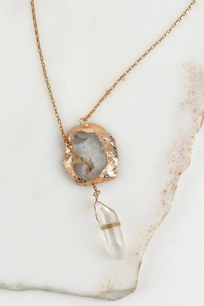 druzy and crystal necklace