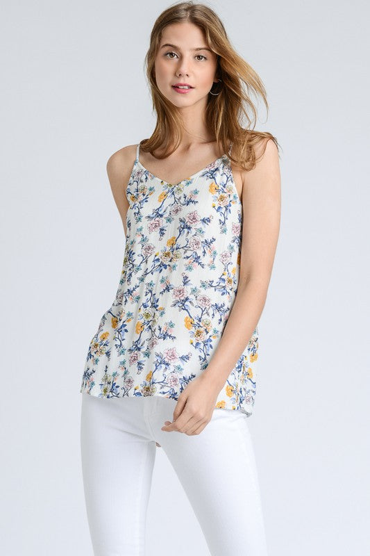 floral strappy back tank
