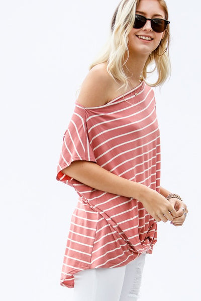 stripe knot front off the shoulder top