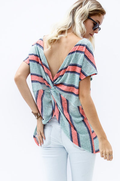twist back stripe top