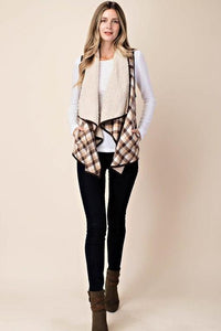 flannel shearling lined vest
