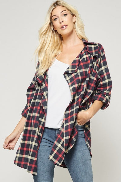open plaid cardigan