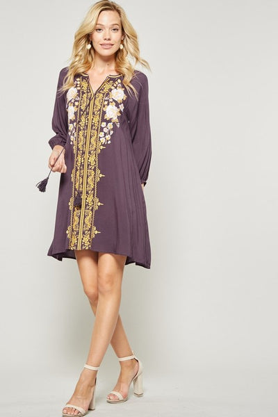 boho style modest dress with embroidery perfect for fall fully lined plum gold and beige