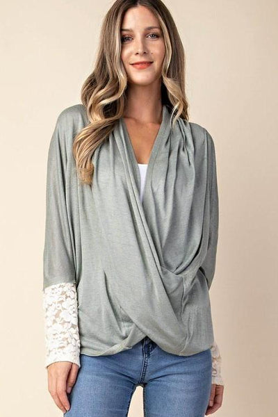 lace sleeve wrap front top