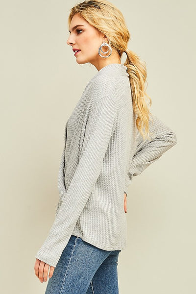 crossover knit waffle top