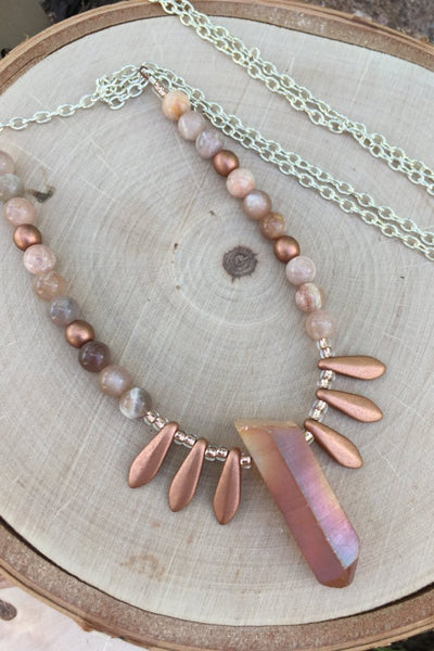 peach quartz handmade necklace