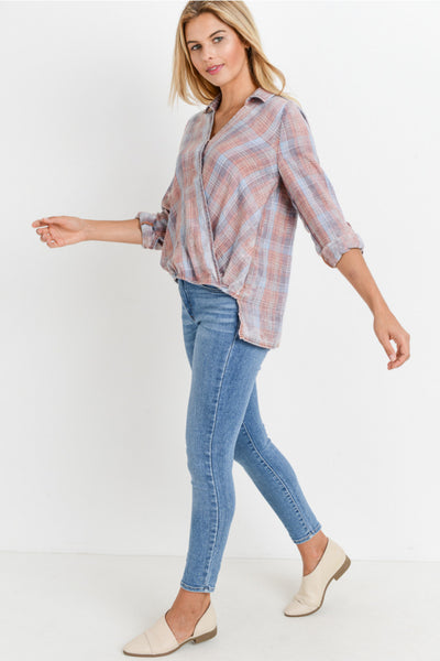 burnout plaid top