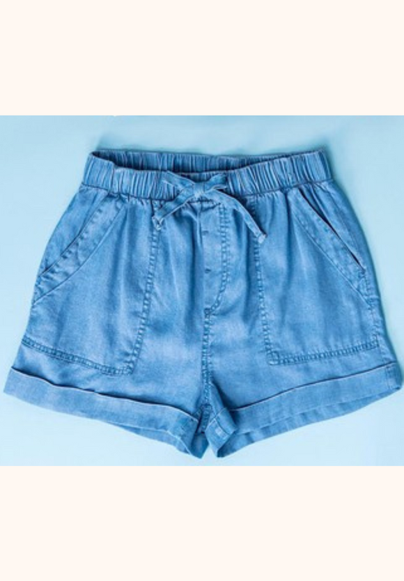 chambray pull on short