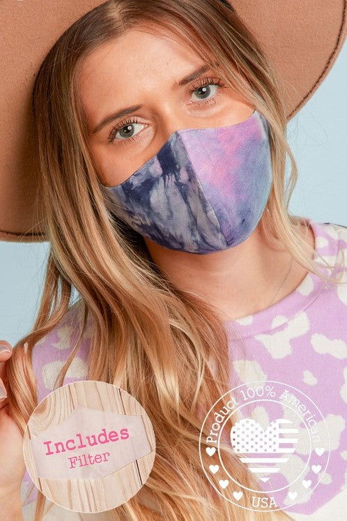 tie dye reusable face mask with filter