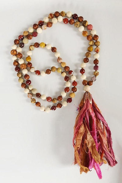 sari silk tassel mala necklace