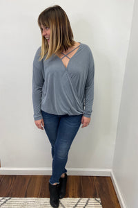 modal surplice knit top