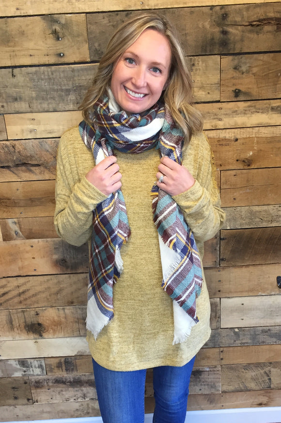 plaid blanket wrap scarf